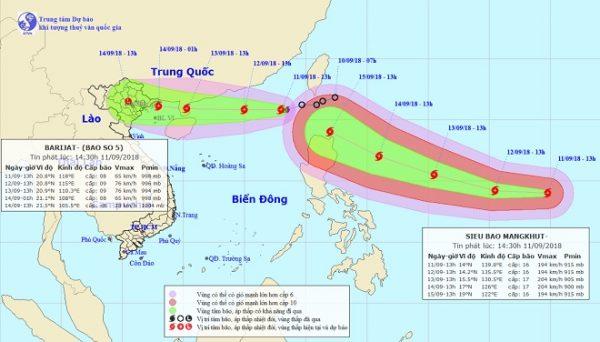 Siêu bão MANGKHUT mạnh cấp 16 đang hướng vào Biển Đông
