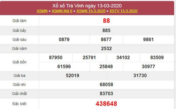 Soi cầu KQXS Trà Vinh 20/3/2020 - XSTV hôm nay