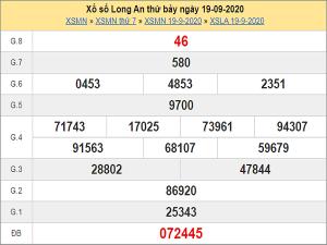 Soi cầu KQXSLA ngày 26/09/2020- xổ số long an chi tiết