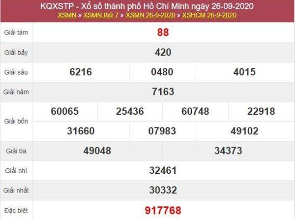 Thống kê XSHCM 28/9/2020 chốt lô số đẹp Hồ Chí Minh thứ 2