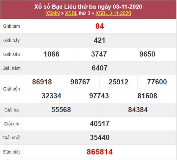 Nhận định KQXS Bạc Liêu 10/11/2020 thứ 3 tỷ lệ trúng cao
