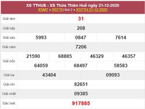 Thống kê xổ số Thừa Thiên Huế 28/12/2020 thứ 2 chi tiết nhất